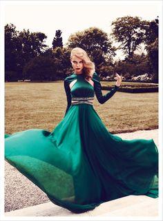 Deep green vaporous cut out Gizia dress