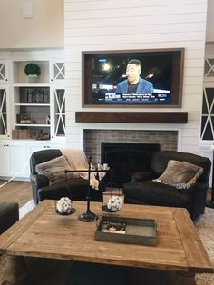 7 Incredible Cool Ideas: Freestanding Fireplace Design old fireplace love.Fireplace Makeover Tv Above fireplace living room articles. Fireplace Built Ins, Shiplap Fireplace, Fireplace Remodel, Fireplace Design, Wall Fireplaces, Farmhouse Fireplace, Fireplace Ideas, Fireplace Hearth, Fireplace Seating