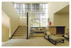 Lovell Health House - Richard Neutra, Architect (I like the chair). Richard Neutra, Beautiful Houses Interior, Beautiful Homes, 1980s Interior, Modernisme, House Stairs, Loft, Mid Century House, Commercial Interiors