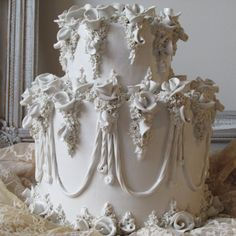 Ceramic porcelain white wedding cake vintage fake ornate rose covered faux dessert for decoration photography home decor anita spero design