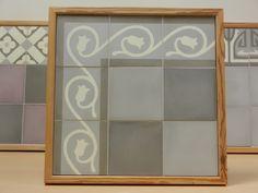 Handmade encaustic tiles, 15x15 cm format. 1580 Tulip border / 1512 Dark Grey / 1520 Light Grey.  Brochure available.