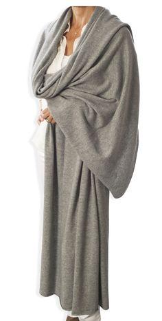 Cashmere Oversized Wrap - Light Grey by Catherine Robinson