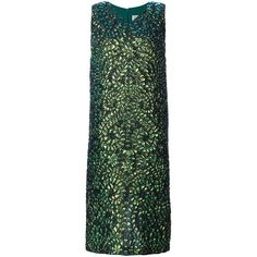 Maison Margiela lizard print dress ($1,820) ❤ liked on Polyvore featuring dresses, green, straight dress, sleeveless shift dress, sleeveless dress, long dresses and green shift dress