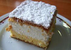 "Bled Cream Cake- Kremna rezina -""Kremsnita"" This is so delicious! Thank you Slovenia! Pudding Desserts, Custard Desserts, Just Desserts, Pita Recipes, Cake Recipes, Dessert Recipes, Custard Slice, Custard Filling, Filling Recipe"