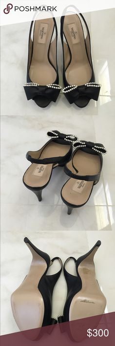 """VALENTINO peep-toe slingback pumps worn once/ faux pearl embellished bow/ black smooth leather/ dust bag and box not included/ heel: 4.5""""/ size IT37/ MSRP $745/ box and dust bag not included Valentino Shoes Heels"""