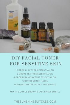 DIY Facial Toner for sensitive skin. Improve face tone and redness. With this all natural essential oil toner. Skin Toner, Facial Toner, Diy Toner Face, Facial Diy, Facial Care, Essential Oils For Face, Beauty Skin, Face Tone, Black Heads