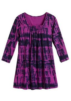 Top, tunic length in tie-dyed print | Plus Size Knit Tops & Tees | Woman Within