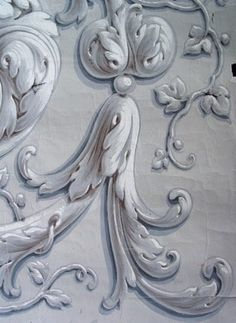 These are some of the nicest examples I have of grisaille ornamentation. The artist has convincingly created a trompe l'oeil effect with t...