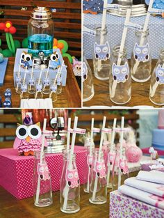 Sweet Pink & Blue Owl Dessert Table. My kind of Gender reveal party! LOVE IT!