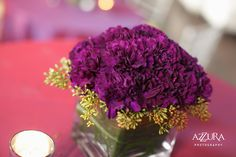 Low Purple Carnation w/ Pepperberry Accents Centerpiece by Aria Style (Azzura Photography) / www.ariastyle.com / https://www.facebook.com/AriaStyle / http://instagram.com/ariastyleseattle