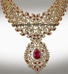 Jewellery Designs: Adorable Diamond Floral Necklace