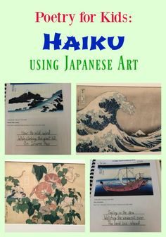Poetry for Kids: Haiku using Japanese Art. See my son's and try at home! Haiku and Hokusai. #poetry #5thgrade