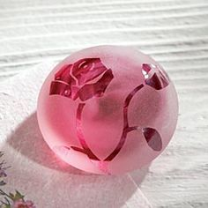 Red Rose Frosted Glass Paperweight