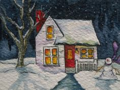 Artist Trading Card of Cottage in Snow by Marleyart on Etsy, $12.99