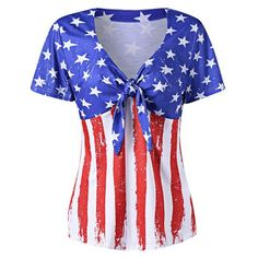 American Flag Tie Blouse   Plus Size