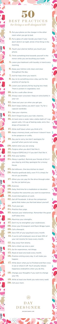 50 best practices for living a well-designed life!