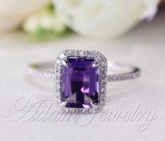 Hey, I found this really awesome Etsy listing at https://www.etsy.com/listing/184127976/6x8mm-emerald-cut-amethyst-ring-pave