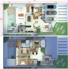 Modern sobrado project with 4 suites - Plans of Houses, Models and Facades of Houses Pool House Plans, Dream House Plans, Modern House Plans, House Map, Sims 4 Houses, Suites, Pent House, Building Plans, Home Projects