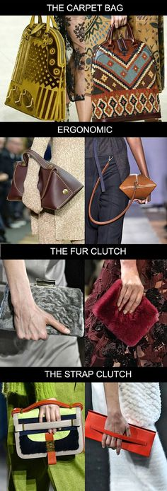 FASHION VIGNETTE: TRENDS // TREND COUNCIL - ACCESSORIES A/W 2015-16. Loving the colours, patterns and textures on the carpet bags. Also making me think of Offhand Designs knitting bags.