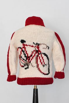ac20764ed452 Mary Maxim Kids Bicycle Cardigan Sweater   Hand Knit Wool Cowichan Sweater    Curling Sweater on Etsy