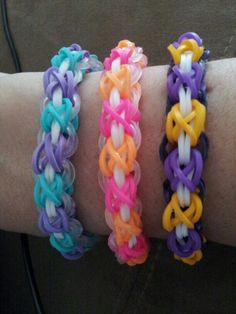 Laced up Rainbow Loom bracelets!  Followed the original design on youtube by tutorialsbyA.