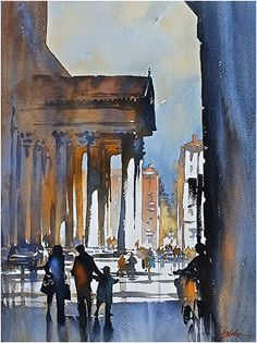 Street Corner in Rome by Thomas W. Schaller Watercolor ~ 22 inches x 15 inches