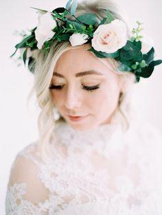 flowergirl garland spring wedding bridesmaid bridal flower crown Rose Flower Crown woodland wedding Layla floral crown