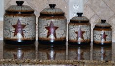 Hand Painted Primitive Star Canisters.  Order your set at jestedddy05@aol.com