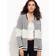 SheIn(sheinside) Heather Grey Striped Trim Fluffy Panel Bomber Jacket ($17) ❤ liked on Polyvore featuring outerwear, jackets, stand collar jacket, white bomber jacket, color block jacket, stand up collar jacket and white flight jacket