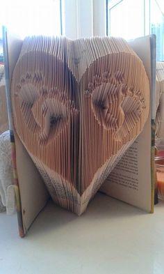 Book Folding Pattern - Twin Baby Feet in a Heart - 305 Folds