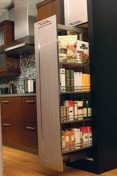 A Tall Pantry cabinet from Dura Supreme Cabinetry provides multi shelf pantry storage for storing large amounts of goods. Smart Kitchen, Kitchen Pantry Storage, Kitchen Pantry Cabinets, Small Pantry, Small Space Kitchen, Storage Cabinets, New Kitchen, Pantry Shelving, French Kitchen