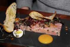 ham hock terrine with quail eggs and fennel croutes Fun Food, Good Food, Yummy Food, Ham Hock Terrine, Quail Eggs, Larder, Fennel, Hotel Reviews, Foodie Travel