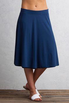 Wanderlux Reversible Midi Skirt, Indigo/Black, large