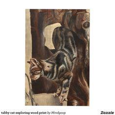 tabby cat exploring wood print