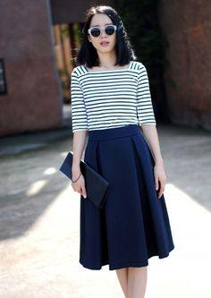 Vintage-Retro-Womens-High-Waist-Elastic-Mid-Dress-Flared-Skater-Pleated-Skirt