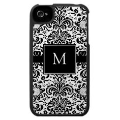 Monogram Damask iPhone 4 Case with customizable letter