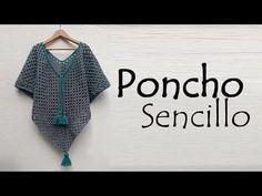 Poncho sencillo a crochet - Crochet Aphgans Crochet Jacket Pattern, Crochet Cardigan, Crochet Shawl, Crochet Stitches, Purse Patterns Free, Crochet Purse Patterns, Crochet Purses, Crochet Granny, Easy Crochet