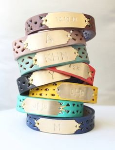 """Monogrammed punched bracelets! this pic has different patterns and colors than what's currently listed in her shop...bracelets are ⅝"""" wide"""
