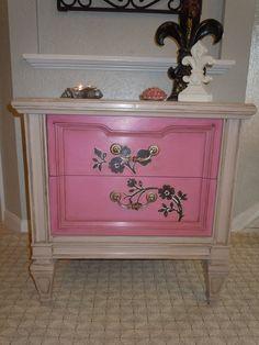 Vintage Cottage Painted Pink Side Table or by VintagebyReDesign. $145.00 USD, via Etsy.