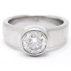 Tiffany Etoile Inspired Full Bezel Solitaire Diamond Engagement Ring- Nina Elle Jewels
