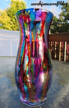 Sarah Jane's Craft Blog: Dripped Alcohol Ink Vase