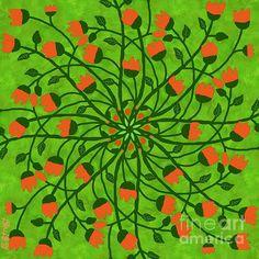 Mandala Bell Flower Green by Caroline Street Mandala Art, Fine Art America, Digital Art, Greeting Cards, Wall Art, Street, Artwork, Flowers, Painting