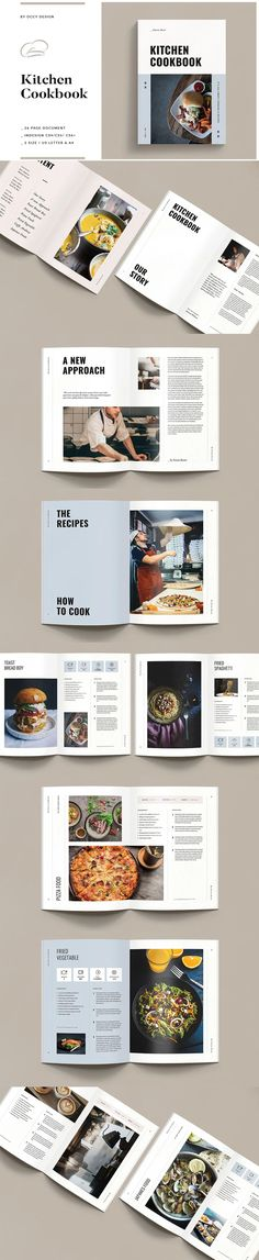 Cookbook / Recipe Book Design Template. Compatible with: Adobe InDesign. File Type: INDD, PDF. File Size: 41.61 MB. Dimensions: 8.5 x 11 in. DPI: 300. Layered Brochure Food, Brochure Design, Brochure Template, Recipe Book Design, Cookbook Design, Book Design Templates, Cookbook Template, Typography, Lettering