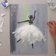 DIY: Dancing Ballerina Painting for Wall Decoration ? By: ventunoart DIY: Dancing Ballerina Painting for Wall Decoration ? By: ventunoart Canvas Painting Tutorials, Diy Canvas Art, Diy Wall Art, Diy Wall Decor, Wall Canvas, Art Ballet, Ballerina Painting, Painting Of Girl, Diy Painting