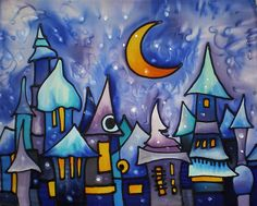I want this in MY room!!!  Night in the fairytale town by ArmeniaOnSilk