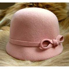 Cute Pink Wool Warm Winter Fashion Dress Bucket Hats for Women Church  SKU-158292