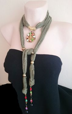 Khaki Green Necklace Scarf with Handmade Pendant/ Indian Striped Gauze Fabric with Metallic Fibre/ Long Soft Scarf/ Boho/ OOAK/ Gift For Her