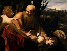 "Caravaggio: ""Sacrificio di Isacco"" (Ofringen av Isak) (1603-1604) - befinner seg i Uffici-galleriene, Firenze."