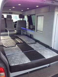 Upholstered a Rock & Roll Bed - Vanlife & Caravan Renovation Vw Transporter Camper, Vw T5 Camper, Kombi Motorhome, Sprinter Camper, Vw Conversions, Camper Conversion, Rock And Roll Bed, Rock Roll, Converted Vans