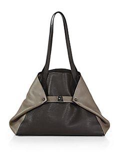 Akris - Ai Small Bicolor Leather Shoulder Bag